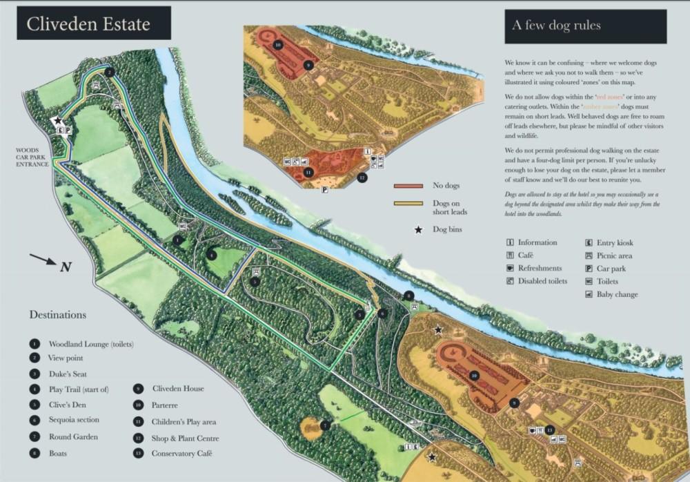 Woodlands, River and Garden dog walks at Cliveden, Buckinghamshire - Cliveden Dog Walk Map.JPG