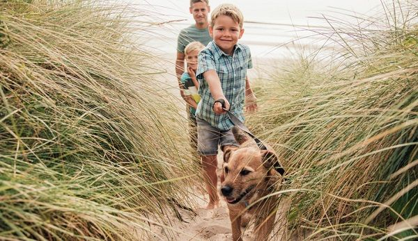 lockdown puppies and kids on the beach.jpg